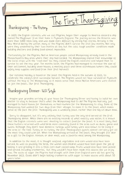 Thanksgiving Reading Comprehension - 3 Pack