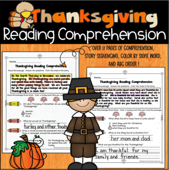 Thanksgiving Reading Comprehension, Sequencing Stories and Activity Packet