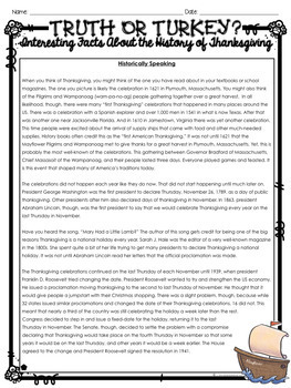 Thanksgiving Nonfiction Reading Comprehension: Leveled Texts and Task Cards