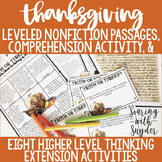 Thanksgiving Nonfiction Reading Comprehension: Leveled Tex