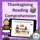 Thanksgiving Reading Comprehension BOOM Cards™ digital ada