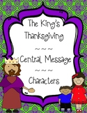 Thanksgiving Reading Comprehension Central Message Character Traits