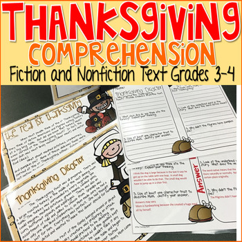 Thanksgiving Reading Comprehension Fiction and Nonfiction Center