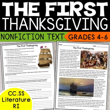 Thanksgiving Reading Comprehension Passage - The First Thanksgiving