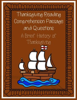Thanksgiving Reading Comprehension Passage and Questions