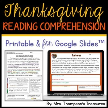 Thanksgiving Reading Comprehension Passages (Text Evidence/Inference)