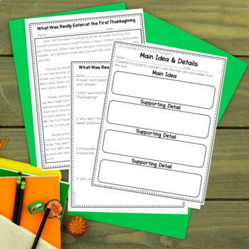 Thanksgiving Reading Comprehension Passages and Activities {Just Print}