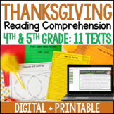 Thanksgiving Reading Comprehension - Digital Thanksgiving