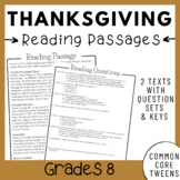 Thanksgiving Reading Comprehension Passages and Questions (8th Grade)