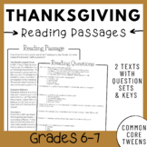 Thanksgiving Reading Comprehension Passages and Questions (Middle School)