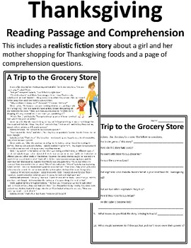 Thanksgiving Reading Comprehension Passages and Questions Thanksgiving Fiction