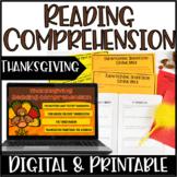 Thanksgiving Reading Comprehension   Digital Thanksgiving