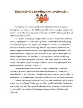 Thanksgiving Reading Comprehension Unit