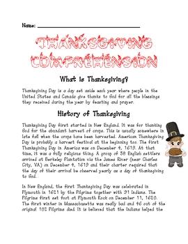 Thanksgiving reading comprehension worksheet by ms third grade tpt thanksgiving reading comprehension worksheet ibookread Download