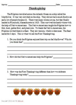 Thanksgiving Reading Comprehension and Writing Prompt