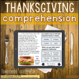 Thanksgiving Reading / Listening Comprehension Non Fiction