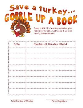Thanksgiving Reading Log