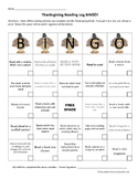 Thanksgiving Break Reading Log BINGO