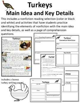 Thanksgiving Reading Main Idea and Details Passages Turkey Main Idea and Details