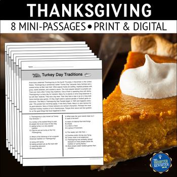 Thanksgiving Short Reading Passages