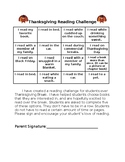 Thanksgiving Reading Challenge Options Board