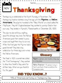 Thanksgiving Reading Passage and Flip Book