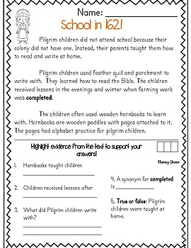 Thanksgiving Reading Passages (Common Core Aligned)