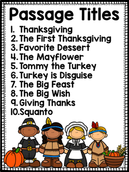 Thanksgiving Reading Passages Differentiated