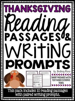 Thanksgiving Reading Passages and Writing Prompts