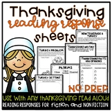 Thanksgiving Reading Response Sheets