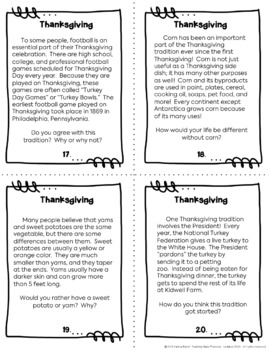 Thanksgiving Reading Task Cards