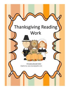 Thanksgiving Reading Work - First Grade