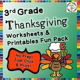 Thanksgiving Reading, Writing, Math, and Fun Activities & Worksheets- 3rd Grade
