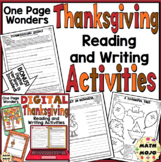 Thanksgiving Reading & Writing One Page Wonders Activities 3rd, 4th, & 5th Grade
