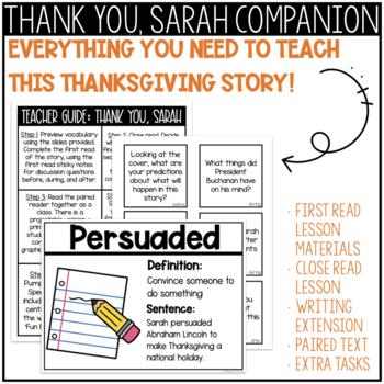 Thanksgiving Reading & Writing: Thank You, Sarah Think-Pair-Share