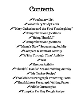 Thanksgiving Reading and Activity Pack