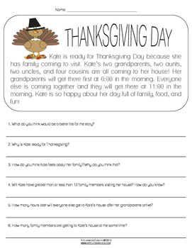 Thanksgiving Reading and Math Comprehension Passage