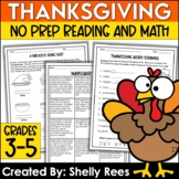 Thanksgiving Math Worksheets and Thanksgiving Reading Acti
