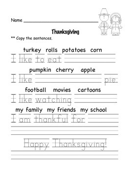 Thanksgiving Reading and Math for Kindergarten