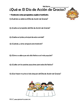 Spanish Thanksgiving Reading - El Dia de Accion de Gracias Article & Questions