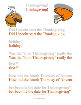 Thanksgiving! Reading Comprehension Passage of 4th Thursday in Nov. as a Holiday