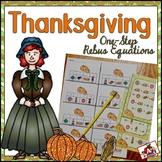 Rebus One-Step Math Equations Thanksgiving theme