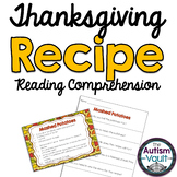 Thanksgiving Recipe Reading Comprehension