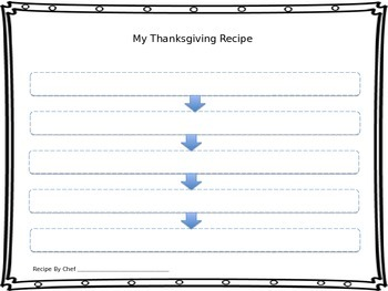 Thanksgiving Recipe Sequence Graphic Organizer