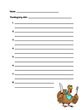 Thanksgiving Recipe Sequencing/Writing Activity