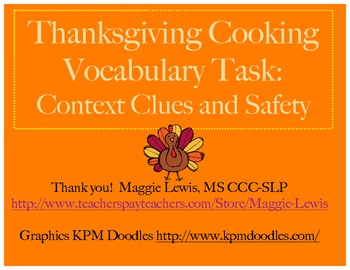 Thanksgiving Recipe Vocabulary and Cooking Safety