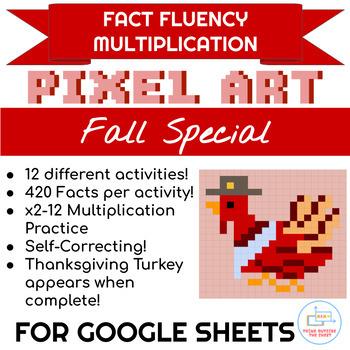 Thanksgiving Red Turkey Pixel Art Multiplication Bundle