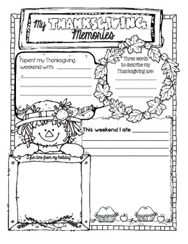 Thanksgiving Reflection/Activity Page
