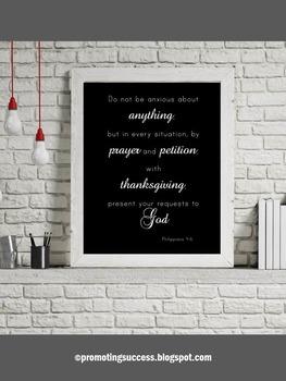 Religious Poster, Bible Verse Quote Philippians 4:6