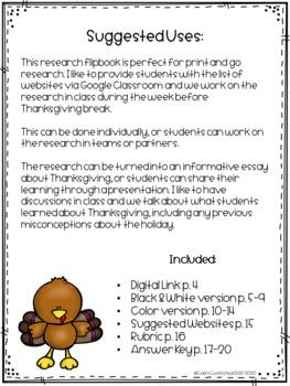 Thanksgiving Research Flipbook
